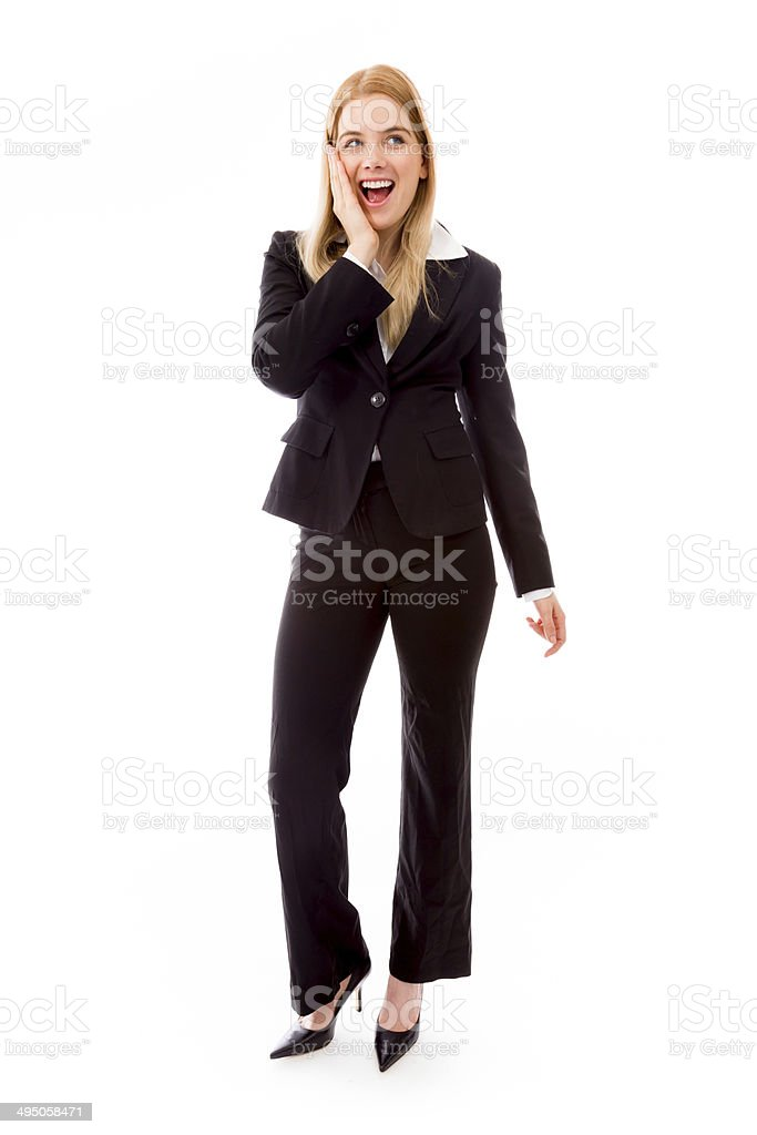 Excited businesswoman isolated on white background stock photo