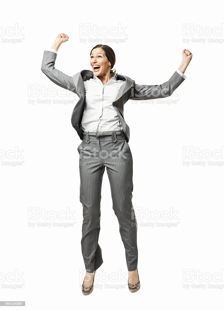 Excited Businesswoman Jumping in the Air - Isolated stock photo