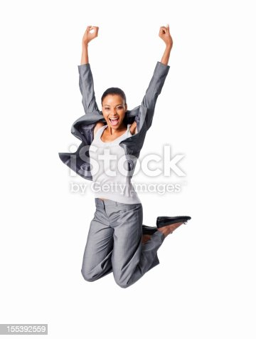 500150419istockphoto Excited Businesswoman Jumping - Isolated 155392559