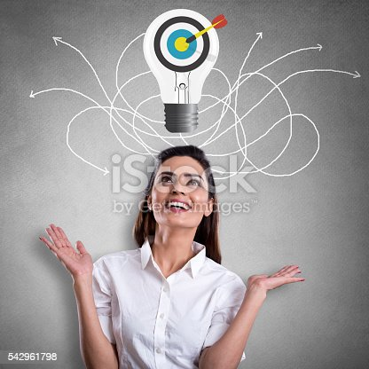 168589045istockphoto Excited businesswoman looking at bull's eye on light bulb 542961798