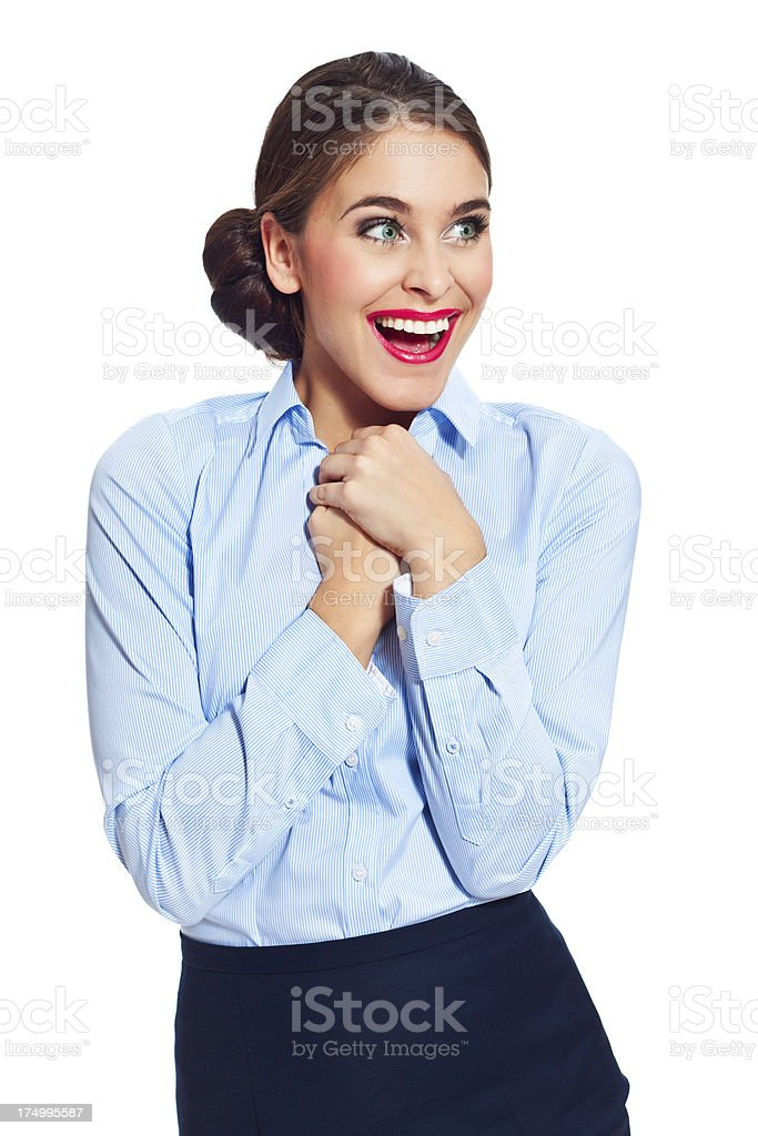 Excited businesswoman Portrait of excited businesswoman standing against white background and laughing. 20-24 Years Stock Photo