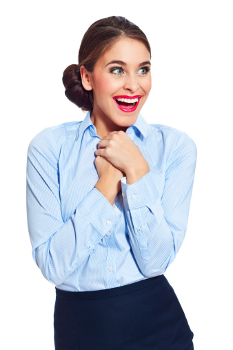 Excited Businesswoman Stock Photo - Download Image Now
