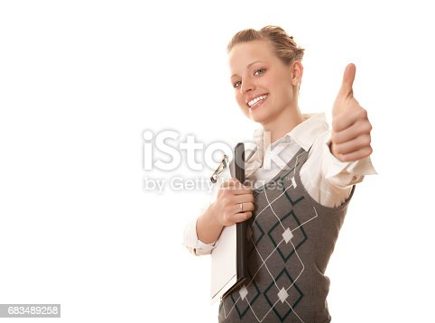 istock Excited businesswoman thumbs up 683489258