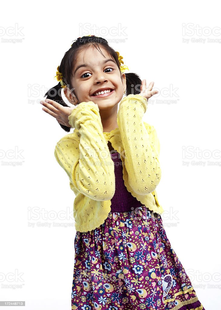 Excited Cheerful Little Indian Girl Isolated on White royalty-free stock photo