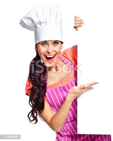 istock Excited chef with whiteboard 174983991