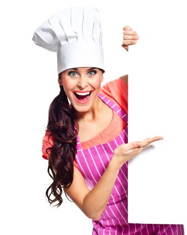 Excited Chef With Whiteboard Stock Photo - Download Image Now