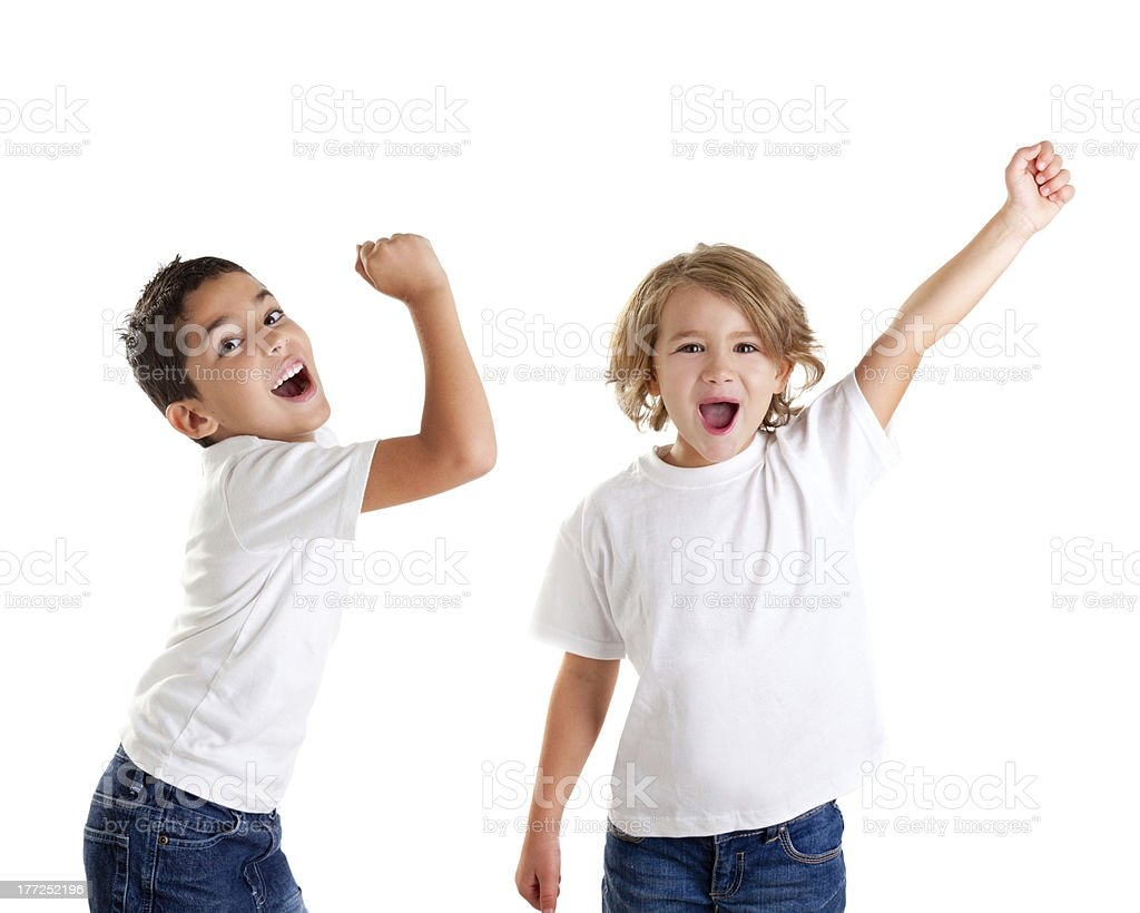 excited children kids happy screaming and winner gesture express stock photo