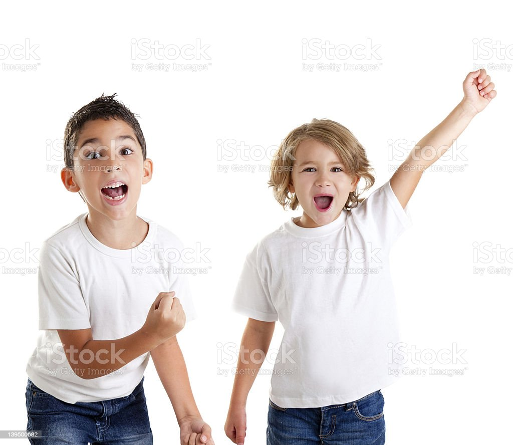 excited children kids happy screaming and winner gesture stock photo