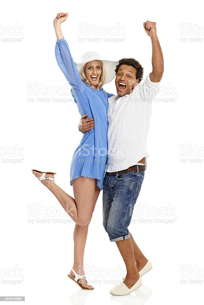 Excited couple rejoicing success royalty-free stock photo