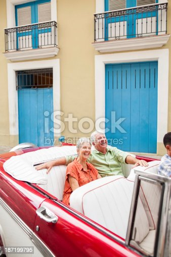 108329737 istock photo Excited couple riding a classic car 187199795