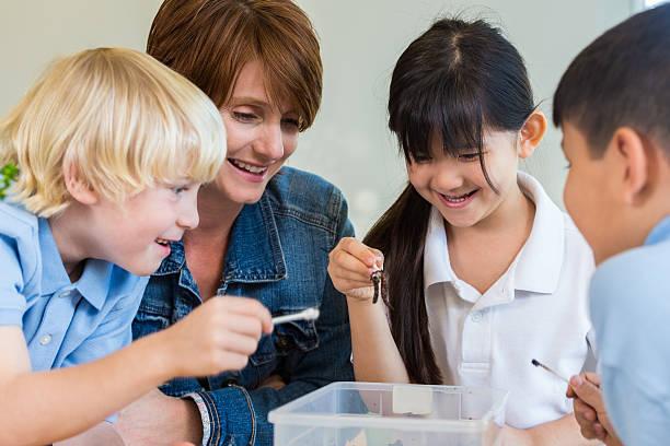 entusiasmado criança de escola primária de alunos a estudar na aula de ciências da terra minhoca - teacher school solo imagens e fotografias de stock
