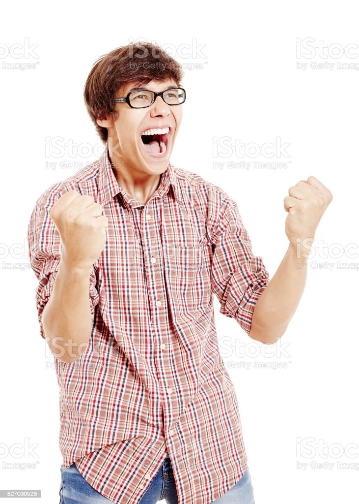Excited fan celebrating win stock photo