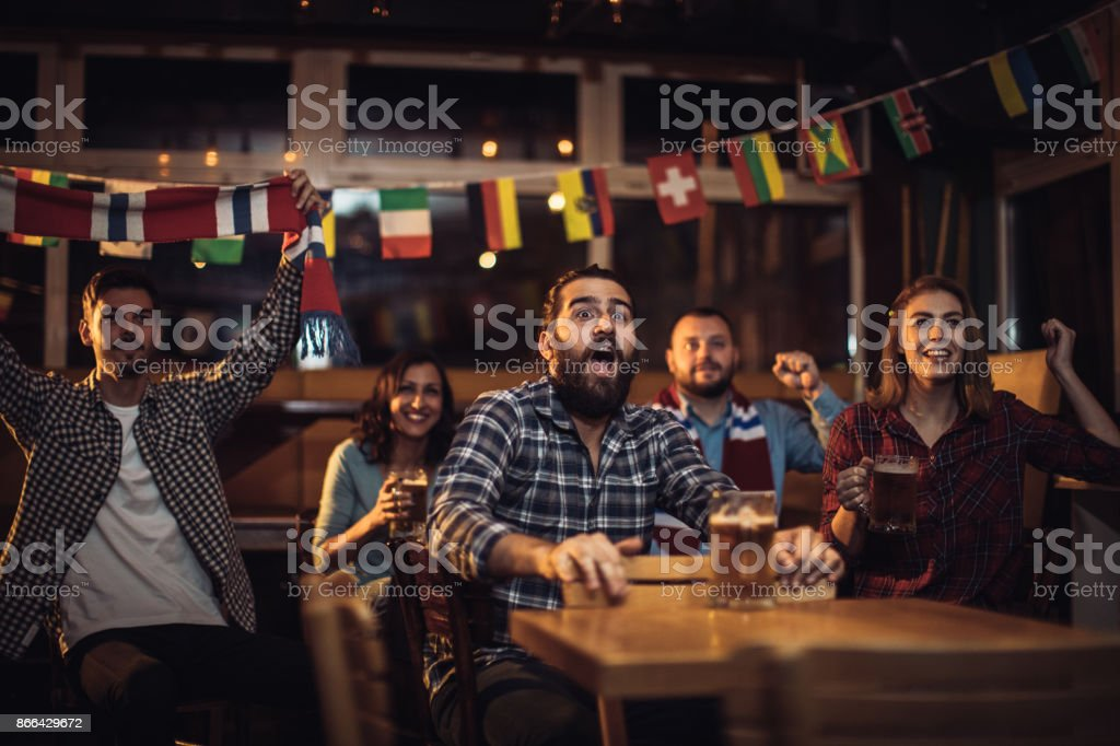 Excited fans stock photo