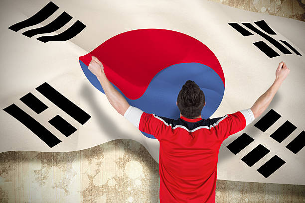 Excited football fan cheering Excited football fan cheering against korea republic flag sopaatervinning stock pictures, royalty-free photos & images