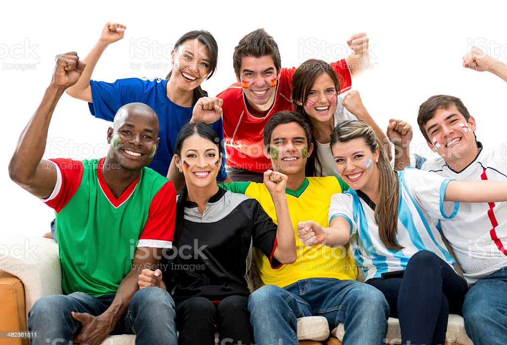 Excited football fans stock photo