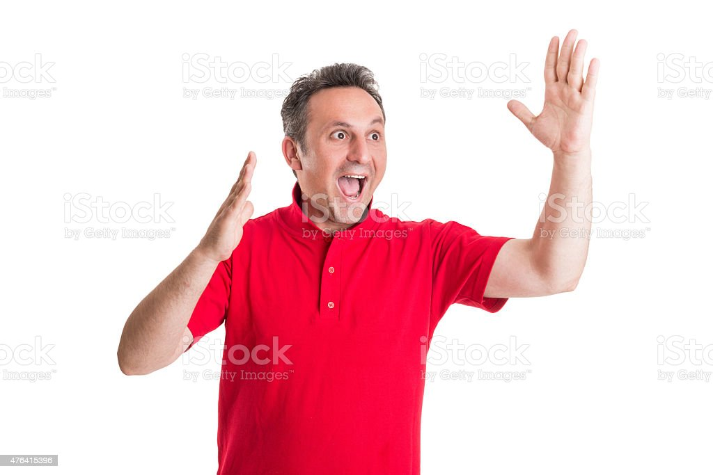 Excited football or soccer fan stock photo
