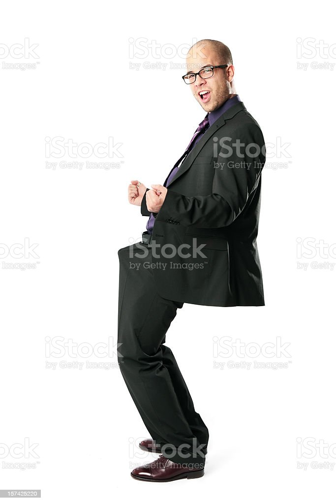Excited Funny Businessman - Celebrate! stock photo