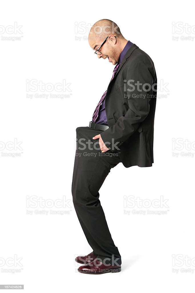 Excited Funny Businessman - Look at that! stock photo