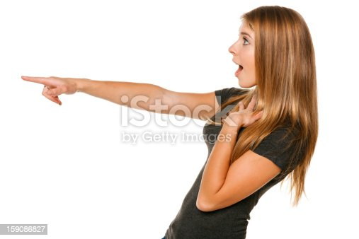 istock Excited girl pointing to the side 159086827
