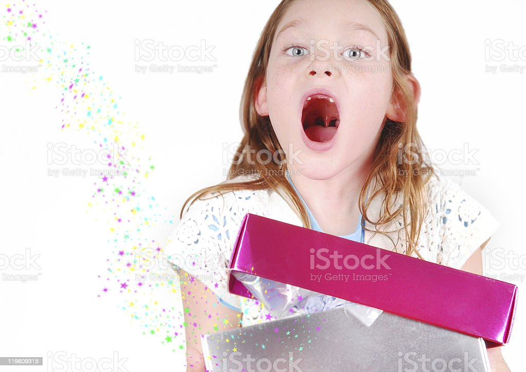 Excited Girl with Present stock photo