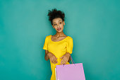 istock Excited girl with shopping bags 882888496