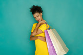 istock Excited girl with shopping bags 887390536