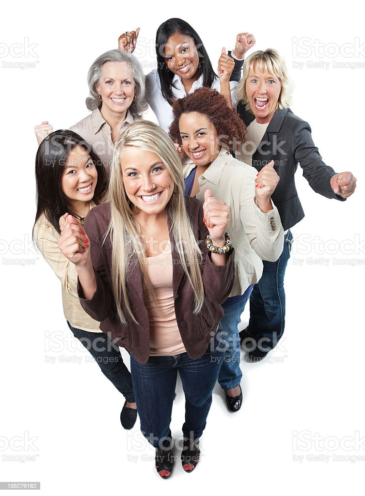 Excited group of happy professional women with fists up royalty-free stock photo