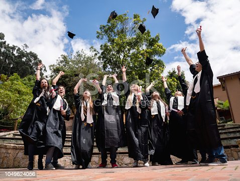 istock Excited group of students celebrating their graduation 1049624056