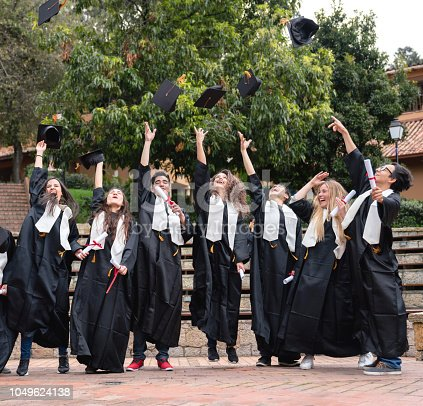 istock Excited group of students celebrating their graduation 1049624138