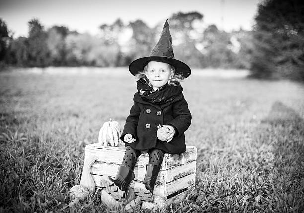 Excited Halloween witch stock photo