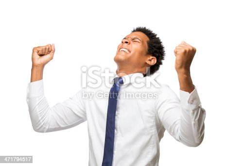 istock Excited latin business man 471794517