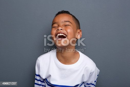 istock Excited little boy laughing 496621207