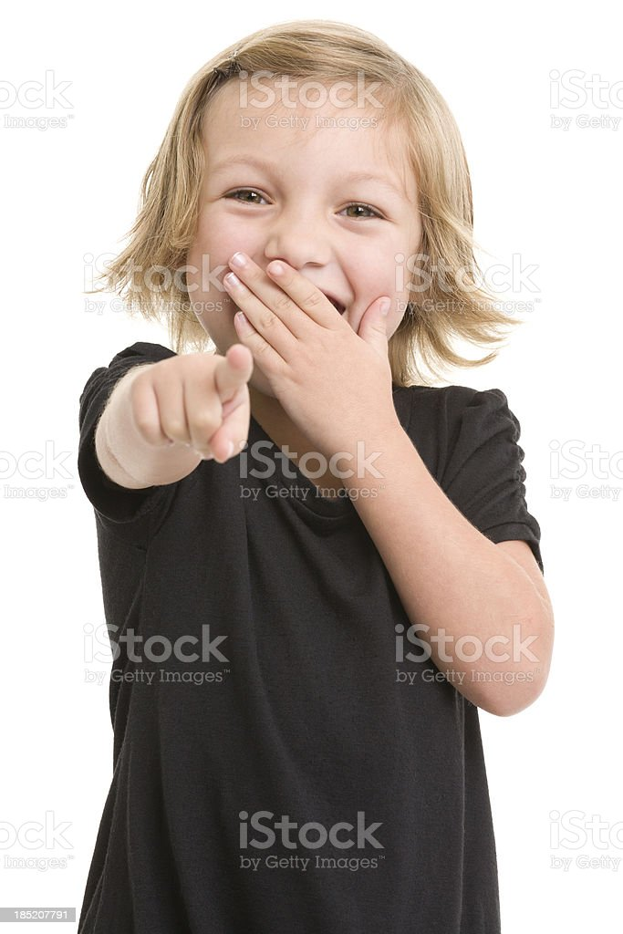 Excited Little Girl Pointing At Camera stock photo