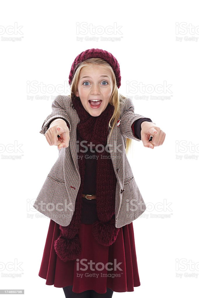 Excited little girl pointing in front royalty-free stock photo