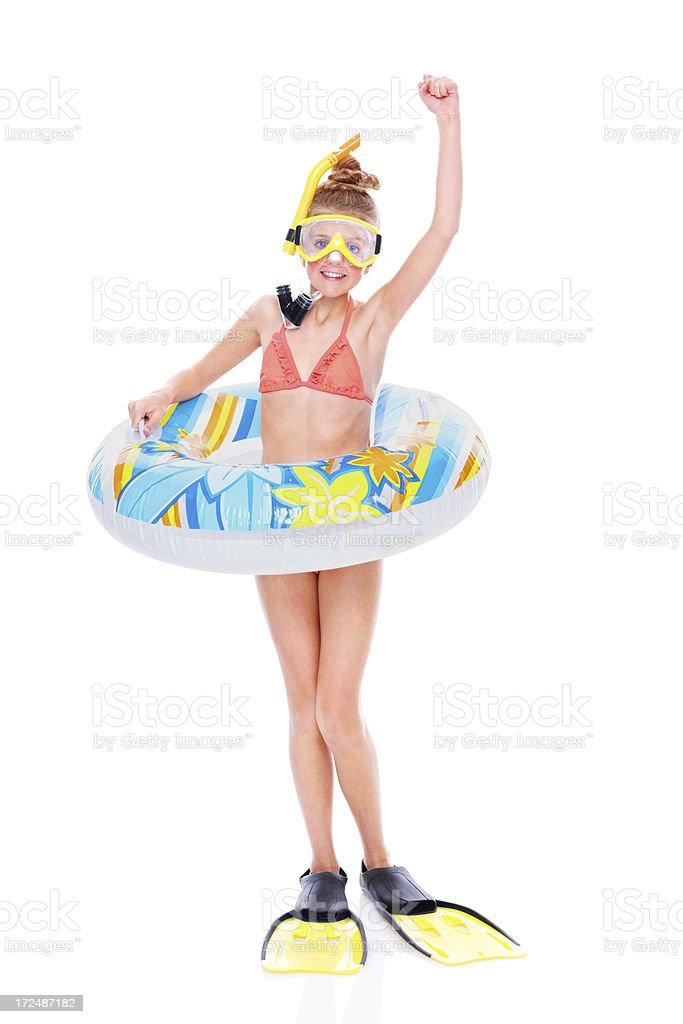 Excited little girl with snorkeling gear on white royalty-free stock photo