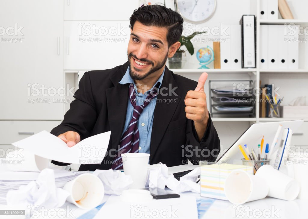 Excited male is talking about successful contract royalty-free stock photo