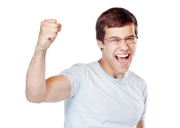 Aufgeregt Mann feiert Sieg – Foto