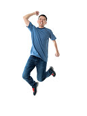 istock Excited man jumping on white background 1160335640