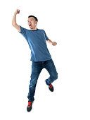 istock Excited man jumping on white background 1160335661