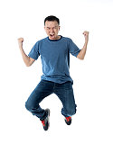 istock Excited man jumping on white background 1160335674