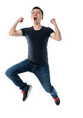istock Excited man jumping on white background 1160335675