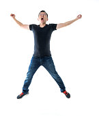 istock Excited man jumping on white background 1160335707