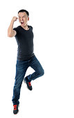 istock Excited man jumping on white background 1193683264