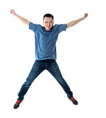 istock Excited man jumping on white background 1193683479