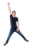 istock Excited man jumping on white background 1193683630