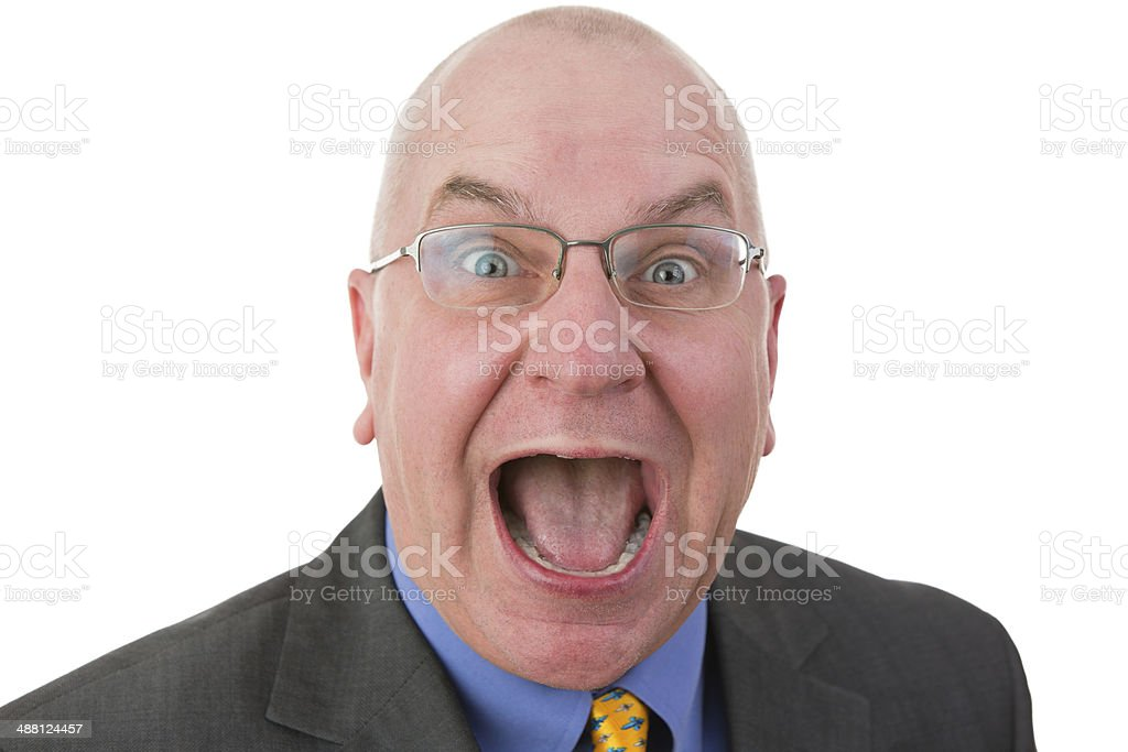 Excited man reacting in amazement stock photo