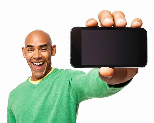 興奮男を示すスマートフォン-絶縁型 - 見せる ストックフォトと画像