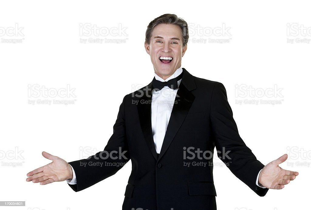 Excited man wearing a tuxedo stock photo
