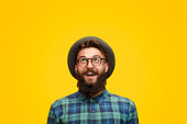 istock Excited man with beard looking up 1133562883
