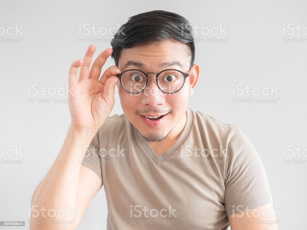 Excited man with eyeglasses. ストックフォト